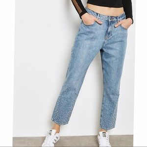 Noisy May pearl detail high rise  jeans